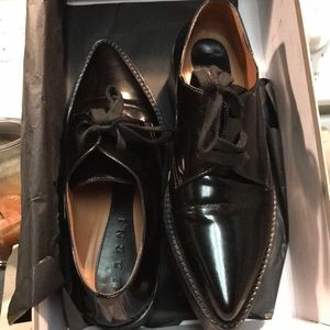 MARNI BLACK LEATHER FLATS ALI